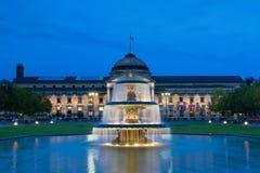 Kurhaus Wiesbaden på natten Royaltyfria Foton