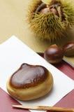Kuri-manjyu. Japanese sweet of chestnut shape Stock Photography