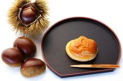 Kuri-manjyu. Japanese sweet of chestnut shape Stock Photos