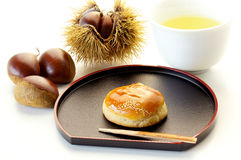 Kuri-manjyu. Japanese sweet of chestnut shape Royalty Free Stock Image