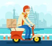 Kurier Delivery auf Roller-Symbol-Ikonen-Konzept lizenzfreie abbildung