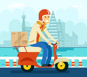 Kurier Delivery auf Roller-Symbol-Ikonen-Konzept Lizenzfreie Stockfotos