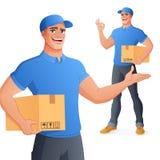 Kurier doręczeniowej usługi mężczyzny mienia seansu pudełkowaty OK również zwrócić corel ilustracji wektora obraz royalty free