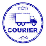 Kurier-Stamp Means Delivery-Versand und -transport Stockfoto