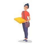 Kurier-Zustelldienste des jungen Mannes des Haltens eines großen Kastens und der Platte mit einem Shuttleblatt lokalisiert auf We Stockbild