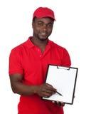 kuriera czerwieni munduru pracownik Obrazy Stock