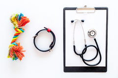 Kurieren Sie Werkzeuge für Haustierkatze und Hund mit Spielwaren, Stethoskop für Behandlung im Pflegensatz auf Draufsicht des wei Stockbilder