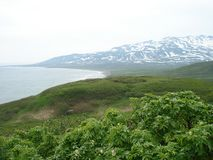 Kuril Islands. The Kurile Islands. The photo was taken in the spring. Okhotsk sea Stock Image