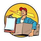 kurir Leverans av jordlotter och post brevbärare stock illustrationer