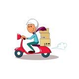 Kurir på sparkcykeln stiligt för bakgrundsaskleverans som isoleras över servicewhitearbetare Royaltyfri Foto