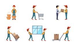 Kuriren eller leveransmän ställde in, arbetare som levererar beställningar, boxas, jordlotter, uttrycklig hemsändningbegreppsvekt vektor illustrationer