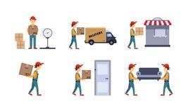 Kuriren eller leveransmän ställde in, arbetare som levererar på askar, jordlotter, uttrycklig illustration för hemsändningbegrepp vektor illustrationer