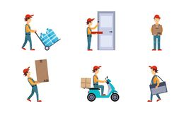Kuriren eller leveransmän ställde in, arbetare som levererar vattenflaskor, pizza, boxas, jordlotter, uttryckligt hemsändningbegr royaltyfri illustrationer