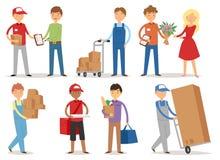 Kurirer för arbetare för service för leveranspojken som levererar mantecken, shoppar brevbärare som kommer med packar som rymmer  stock illustrationer