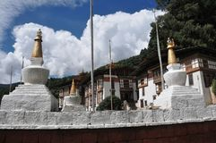 Kurjey Lhakhang: The Temple of Imprints. In Bumthang valley, Bhutan Royalty Free Stock Images