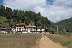 Kurjey Lhakhang: The Temple of Imprints. In Bumthang valley, Bhutan Royalty Free Stock Photos