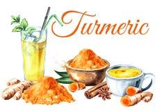 Kurkumakaart De gouden die kokosmelk van de Ayurvedicdrank latte met munt en spicies wordt bevroren Geïsoleerde waterverfhand get Royalty-vrije Stock Afbeeldingen