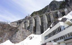 Kurobe Dam. Scene of Kurobe dam  between Snow wall at Tateyama Kurobe Alpine Route, Japan Royalty Free Stock Image