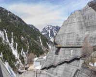 Kurobe Dam. Scene of Kurobe dam  between Snow wall at Tateyama Kurobe Alpine Route, Japan Stock Photography