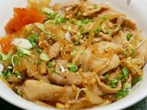 Kurobuta Don: Japońska wieprzowina stewed z soja kumberlandem nakrywającym na ryż fotografia royalty free