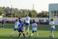 Kurochkina Olesya (13) take ball over head Stock Images