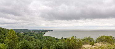 Kuronian盐水湖的全景Curonian唾液的 图库摄影