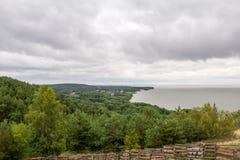 Kuronian盐水湖的全景Curonian唾液的 免版税图库摄影