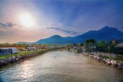 Kurortu camping na jeziornym Gardzie w Włochy Obrazy Royalty Free