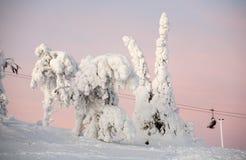 kurortu narciarski zmierzchu widok Fotografia Royalty Free