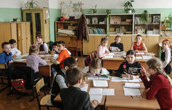 Kurs i grundskola för barn mellan 5 och 11 år i den Kaluga regionen (Ryssland) Royaltyfria Foton