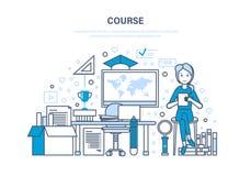Kurs, system szkolenie, dystansowy uczenie, online edukacja, technologia, wiedza ilustracja wektor