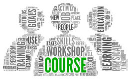Kurs und ausbildendes in Verbindung stehendes Wortkonzept Stockfoto