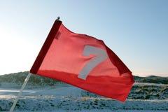 kurs zakrywał flaga golfowego połączeń czerwieni śnieg zdjęcia stock