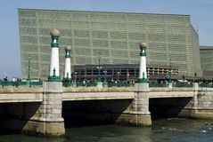 Kursaal Auditorium in San Sebastian. From the other side of the old bridge stock image