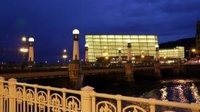 Kursaal  Congress Centre in evening stock video footage