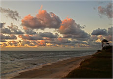 Kurseme sunset. Sunset at Baltic sea,Kurseme,Venspils coast waves red clouds Royalty Free Stock Photos