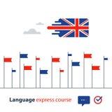 Kurser för engelskt språk som annonserar begrepp Flytande talande utländskt språk Royaltyfri Bild
