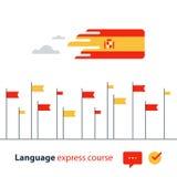 Kurser för spanskt språk som annonserar begrepp Flytande talande utländskt språk Arkivfoton