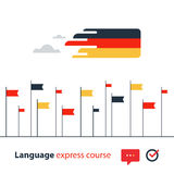 Kurser för tyskt språk som annonserar begrepp Flytande talande utländskt språk Fotografering för Bildbyråer