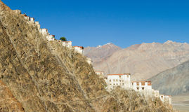 Kursha monastery panorama at sunny day (Zanskar) Royalty Free Stock Photo