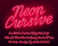 Kursiv alfabetstilsort för neon Liten och ljusa bokstäver och nummer röd färg för stora bokstav stock illustrationer