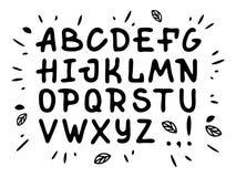 Kursiv stilsort för veranda Vektoralfabet med latinska bokstäver i svartvitt tema vektor illustrationer