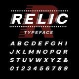 Kursiv stilsort Vektoralfabet med latinska bokstäver och nummer stock illustrationer