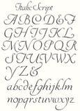 Kursiva skriftalfabethuvudstäder och små bokstäver Arkivbild