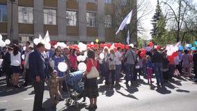 Kursk Rosja, Maj, - 1, 2017: wystawa dedykująca światowy wakacje praca i wiosna zbiory