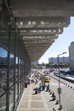 Kursky kolejowy terminal także znać jako Moskwa Kurskaya pasażery i kolej Rosja obraz stock