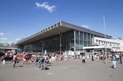 Kursky kolejowy terminal także znać jako Moskwa Kurskaya pasażery i kolej Rosja zdjęcia royalty free