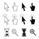 Kursor, ręka i hourglass, Zdjęcia Stock