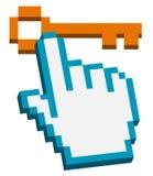 kursoru ręki klucz pixelated Fotografia Stock