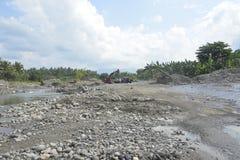 Kursowy piasek przy Mal riverbed, Matanao, Davao Del Sura, Filipiny obraz stock